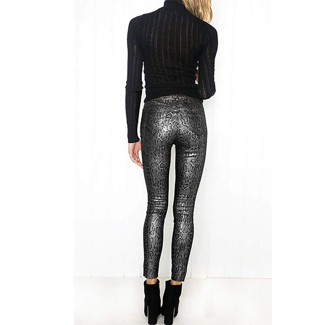 61975a04 Womens Print Leather Pants High Waisted Skinny Metal Snake Pattern Coated  Leggings at Amazon Women's Clothing store: