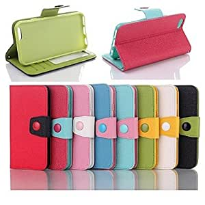 JJE Artificial Leather and Plastic Protective Cover with Support Function for iPhone 6 (Assorted Color) , Light Blue