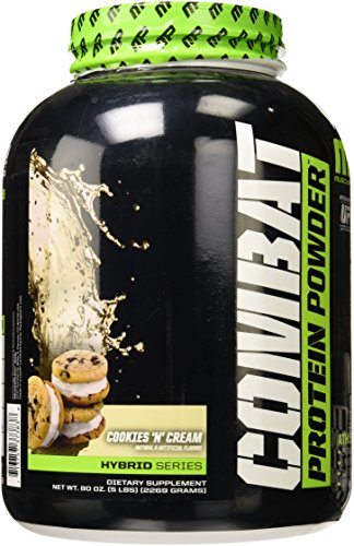 Combat Protein Muscle Pharm Powder, Cookies and Cream, 5 Pound (Powder Glutamine Grams)