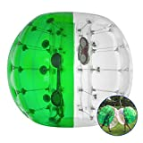 LOVSHARE 5FT Inflatable Bumper PVC Bubble Soccer Ball Dia 5FT 1.5M Zorbing Giant Human Hamster Ball for Adults or Child (5FT Green and Transparent)
