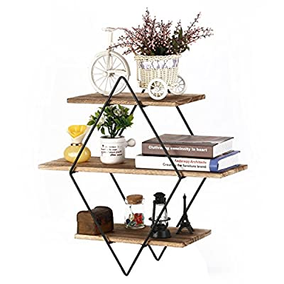 Homode Floating Shelves, 3 Tier Geometric Diamond Wall Shelves, Wood and Metal Art, Rustic Farmhouse Decor - The metal and wood shelf is uniquely different from the other giving it a rustic yet contemporary look perfect for any home. Geometric diamond shape shelves look aesthetically pleasing and perfect for organizing and displaying picture frames, books, vases and decor. Each piece is made from high quality stained wood and finished with metal galvanized brackets. - wall-shelves, living-room-furniture, living-room - 51wWaBoztQL. SS400  -