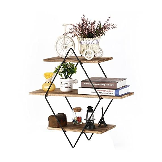 Homode Floating Shelves, 3 Tier Geometric Diamond Wall Shelves, Wood and Metal Art, Rustic Farmhouse Decor - The metal and wood shelf is uniquely different from the other giving it a rustic yet contemporary look perfect for any home. Geometric diamond shape shelves look aesthetically pleasing and perfect for organizing and displaying picture frames, books, vases and decor. Each piece is made from high quality stained wood and finished with metal galvanized brackets. - wall-shelves, living-room-furniture, living-room - 51wWaBoztQL. SS570  -