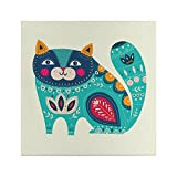 Canvas Wall Art Prints - Blue Cat - Art Work Decorations for Home, Office, Classroom, Kitchen, Cafe and Living Room - Panels Modern Painting - Decor - Animals - Frame - Nursery, Class 11.8x11.8