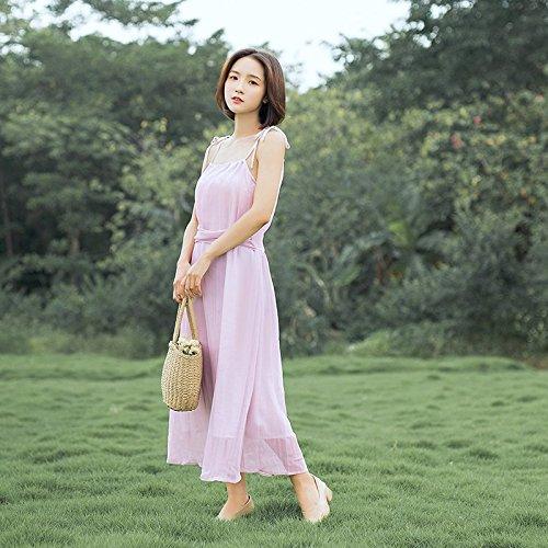 Robes Milieu Taille Taille MiGMV Jupe Longue fe M Jupe de Jarretelles l't de Porte rtro au Femme Mousseline Robe Pink Super de wAxEpYzqxg