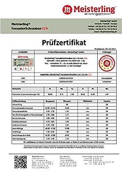 V2a Edelstahl mit Flachkopf Meisterling/® FassadenSchrauben 4,8 x 25 mm