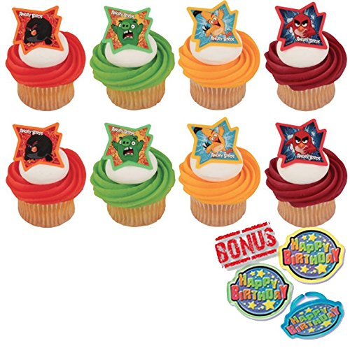 Angry Birds Why So Angry Cupcake Toppers and Bonus Birthday Ring - 25 piece]()