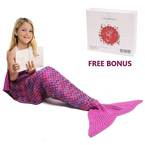 Mermaid Tail Blanket, Amyhomie Mermaid Blanket Adult Mermaid Tail Blanket, Crotchet Kids Mermaid Tail Blanket for Girls (Kids, (Little Mermaid Sleeping Bag)