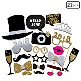 21 PCS 2018 New Year's Eve Party - Gold Card Masks Photo Booth Props Kit Supplies Decorations