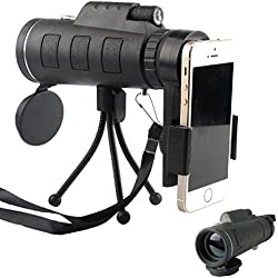 40x60 High Power Magnification Monocular Scope Telescope With Phone Holder and Tripod / Clear and Bright / For Bird Watching / Wildlife / Hiking / Surveillance / Camping / Premium Quality.