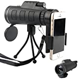 #10: 40X60 High Power Magnification Monocular Scope Telescope With Phone Holder and Tripod / Clear and Bright View / For Bird Watching / Wildlife / Hiking / Surveillance / Camping / Premium Quality.