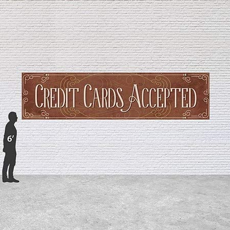 Victorian Card Heavy-Duty Outdoor Vinyl Banner Credit Cards Accepted 16x4 CGSignLab