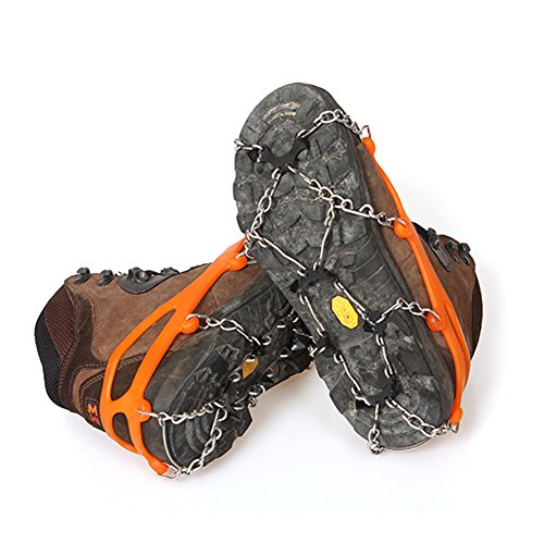EDTara 8 Teeth Anti-Slip Shoe Cover Ice Claws Crampons Climbing Shoe Chains with Stainless Steel Chain Snow Orange