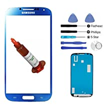 (md0410) Arctic Blue Front Outer Lens Glass Screen Replacement For Samsung Galaxy S4 SIV i9500 + Adhesive + Tools + 5ml UV LOCA Liquid Glue