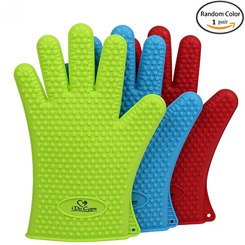 iDoCare Heat Resistant Silicone Gloves BBQ Grilling Gloves Oven Mitts - Most Flexible & Waterproof - Best For Cooking, Baking, Frying, Smoking, Potholder & Barbeque - For Men and Women - Green (Oven Mitts Silicone Small compare prices)