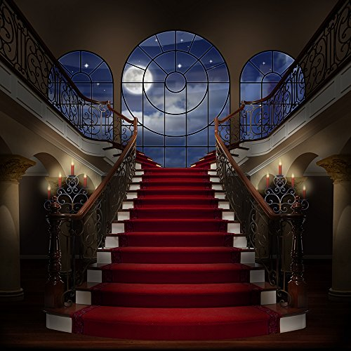 Photography Backdrop - Palace Staircase with Wood Floor - 10x10 Ft. Seamless Fabric