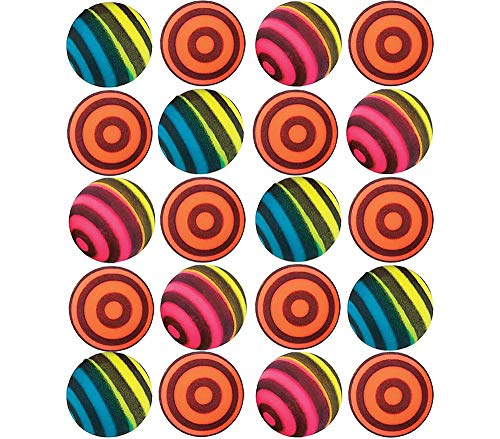 Kidsco Striped Bouncing Balls - Pack of 24 - Assorted Neon Colored Stripe Designs High Bouncing Balls - for Kids Great Party Favors, Bag Stuffers, Fun, Toy, Gift, Prizes