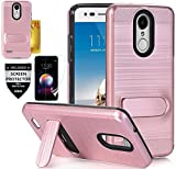 LG K10 2018 Case, LG K30/LG Phoenix Plus/LG Premier Pro LTE/LG Harmony 2/LG K10 Alpha/K10 Plus 2018 Case with Screen Protector, L00KLY [Kickstand] Hybrid Dual Layer Card Slots Wallet Case (Rose Gold)
