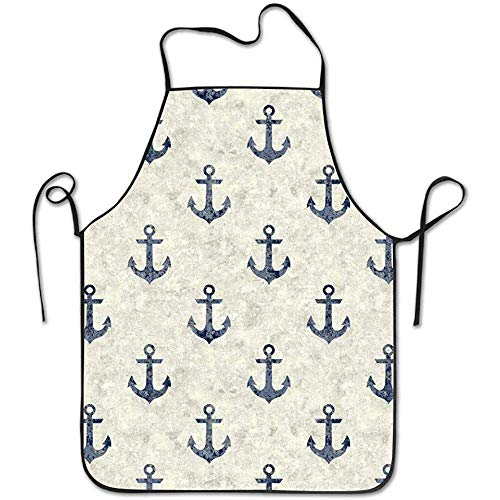 (Sandayun88x Apron Nautical Ship Sailor Anchor Pattern Aprons Bib Adult Lace Adjustable Polyester Chef Cooking Long Full Kitchen Aprons for Indoor Restaurant Cleaning Serving Crafting Gardening)