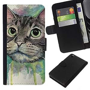 LECELL--Cuero de la tarjeta la carpeta del tirón Smartphone Slots Protección Holder For HTC DESIRE 816 -- Pintura del gato feliz --