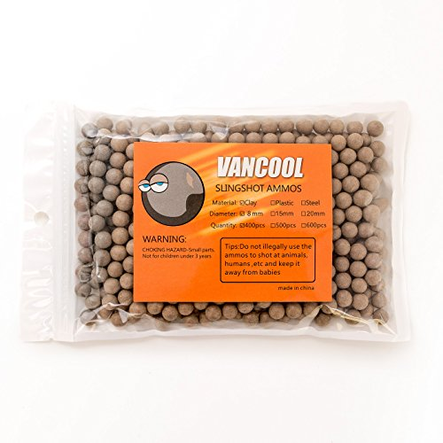 Vancool 3/10 (8mm) Professional Slingshots Ammo Biodegradable hard clay ball 400pcs per pack (Ammo Shot Heavy)