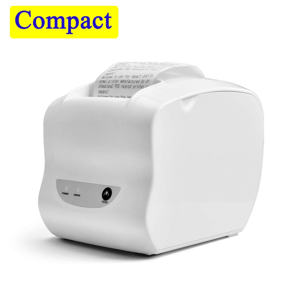 Thermal Receipt Printer, 58MM Mini Portable POS Printer with USB Port, High Speed Printing Compatible with ESC/POS Print Commands Set, Easy to Setup, White