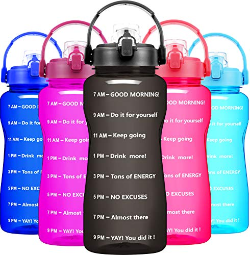 BuildLife Motivational Half Gallon Water Bottle - 64 OZ, Time Market & Flip Lid,BPA Free Leak-Proof Reusable Fitness Outdoor Sports Gym