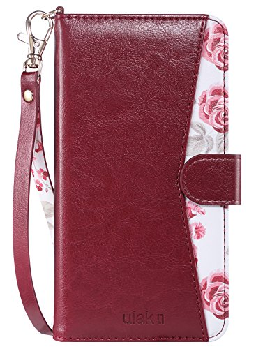 ULAK Flip Wallet Case for iPhone 6s Plus, iPhone 6 Plus Case, Floral PU Leather Wallet Kickstand Case with Wrist Strap ID&Credit Card Pockets for iPhone 6 plus/6S Plus 5.5, (Burgundy Red)