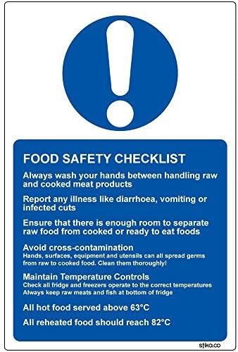Food Safety Checklist vinyl Sticker Sign for Kitchens 13x20cm Kitchen Hygiene