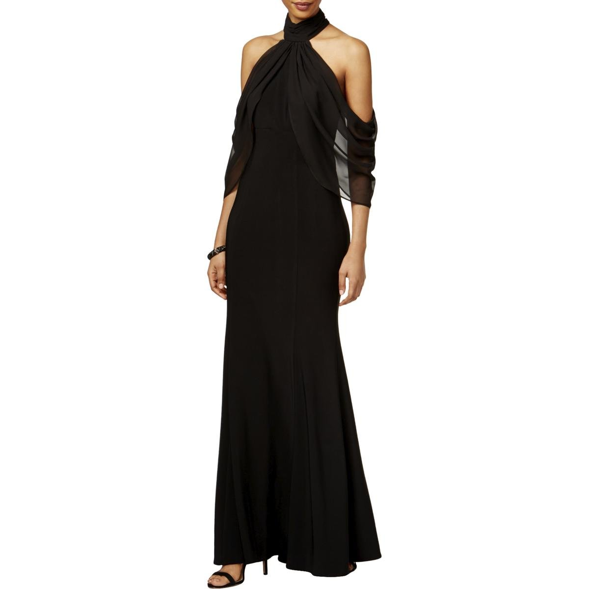 Xscape $229 Womens New 1045 Black Cold Shoulder Mermaid Dress 4 B+B