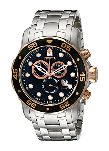 (Invicta Men's 80036 Pro Diver Chronograph Black Dial Stainless Steel Watch)