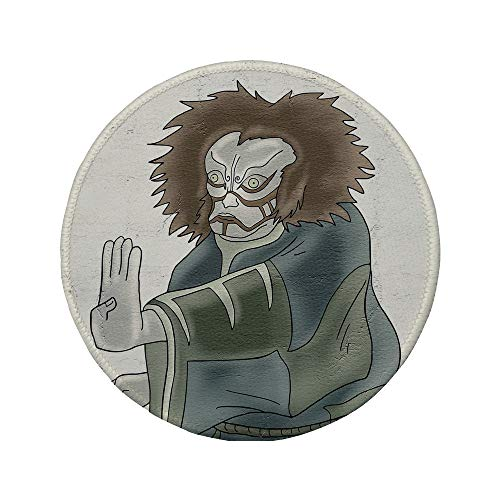 Non-Slip Rubber Round Mouse Pad,Kabuki Mask Decoration,Theater Character with Asian Mask Oriental Drama Gesture Acting Decorative,Multicolor,7.87