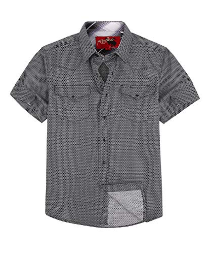 Rodeo Clothing Mens Casual Button Down Shirts Regular Fit Printed Western Shirt Black111 L