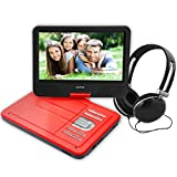 Portable DVD Player for kids for outdoor / car ride use 10.6 inch (Red)