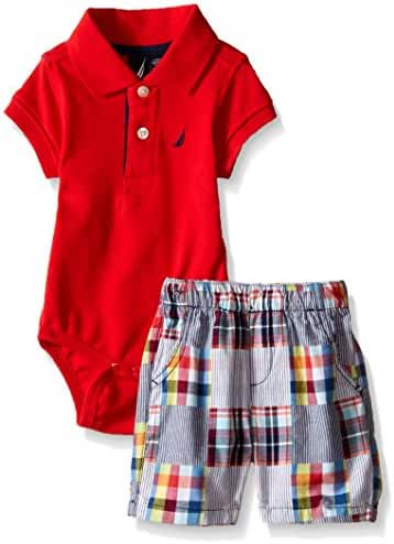 Nautica Baby Boys' 2 Piece Bodysuit Short Set