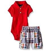Nautica Baby Short Sleeve Polo Core Bodysuit Set, Rouge, 0-3 Months