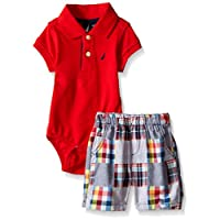 Nautica Baby Short Sleeve Polo Core Bodysuit Set, Rouge, 3-6 Months