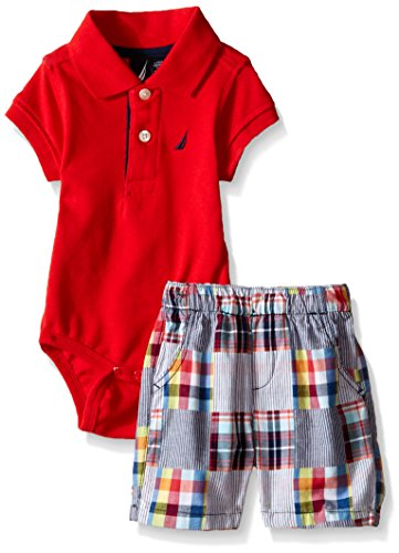 Polo Bodysuit - Nautica Baby Short Sleeve Polo Core Bodysuit Set, Rouge, 3-6 Months