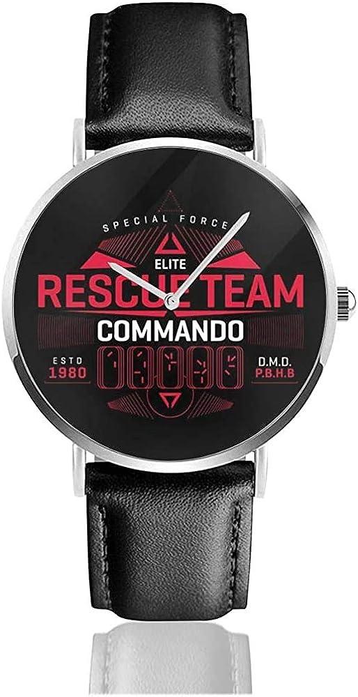 Predator Special Forces Rescue Team Watches Reloj de Cuero de Cuarzo con Correa de Cuero Negro para Regalo de colección