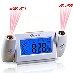 Ieasycan Digital LCD Snooze Dual Projection Alarm Clock Clapping Voice Controlled Backlight Thermometer Tempeture Calendar For Gift