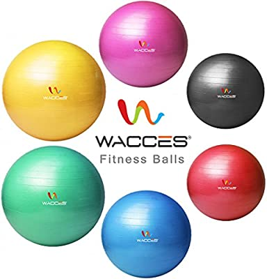 Wacces Professional Exercise Ball, Stability and Yoga Ball Chair, Balance & Birthing Gym Ball - Anti Burst - Supports 2200lbs - Quick Pump Included by Wacces