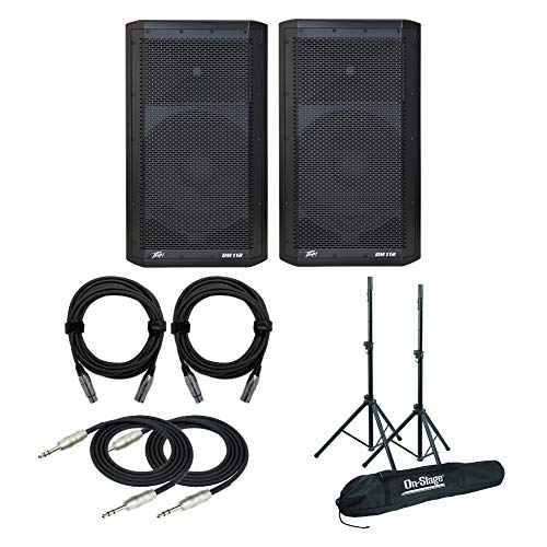 Peavey Dark Matter DM 112 Two-Way Bi-Amplified Speakers (Pair) Bundle with Speaker Stands, 2 Knox XLR and 1/4