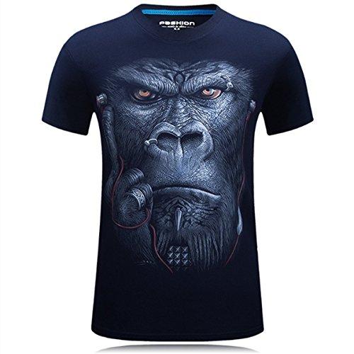Alamor Plus Taille S-4Xl Été 3D Animal Pattern Printing Homme T-Shirt Personnalité Short T-Shirts-Bleu-XL