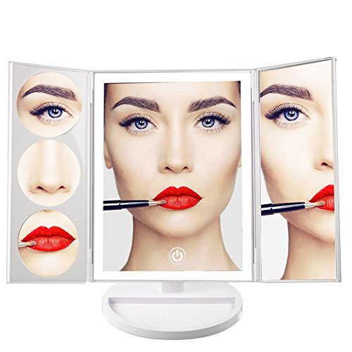 Makeup Mirror,Tri-Fold illuminated Vanity Mirror,Rotating Cosmetic Mirror,Battery and USB Powered,Perfect for Bathroom and Bedroom Table Top (White)