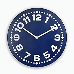 Silent wood wall clock with large numbers (Navy)