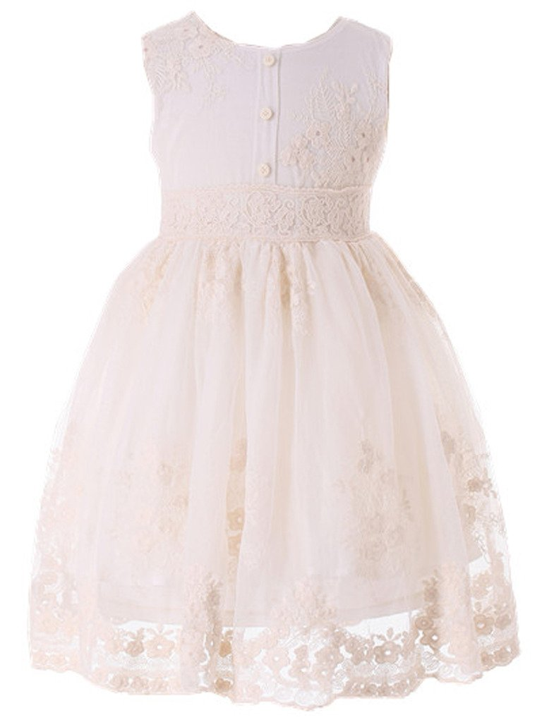 Bow Dream Flower Girl Dress Vintage Lace Cream Ivory Without Sleeves 4