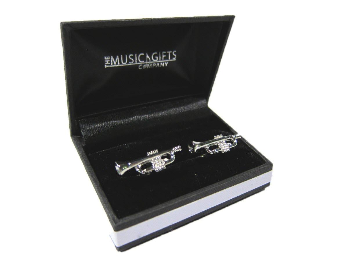 Silver Plated Cufflinks - Trumpet