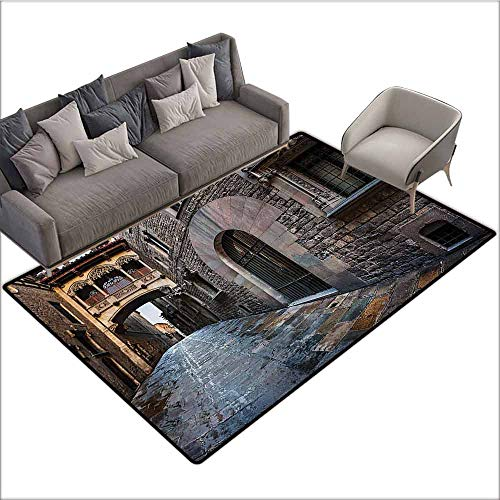 Anti-Slip Coffee Table Floor Mats Medieval Decor Collection,Gothic Quarter and Bridge Spainish Old Medieval Streets Historical Heritage The Past Photo,Grey 64