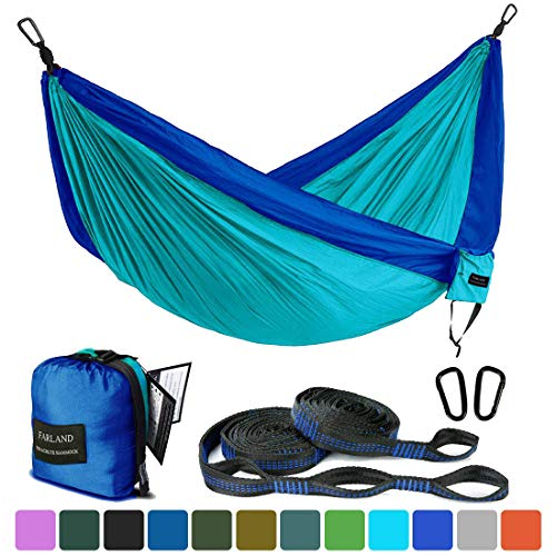 FARLAND Outdoor Camping Hammock Portable Anti-Fade Nylon Single Double Hammock with Loop Straps (Dark Blue/Lake Blue, Double 78 x 118 inch)