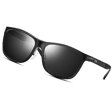 dd6e43addc42 PAERDE Classic Retro Wayfarer Sunglasses Polarized Vintage Sun Glasses For  Men Women Metal Frame(Black