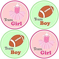 Pink Green Tutu and Football Gender Reveal Sticker Labels - Team Girl and Boy Baby Shower Party - Set of 30